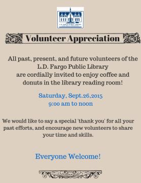 Volunteer appreciation 9AM-12PM Sep 26, 2015