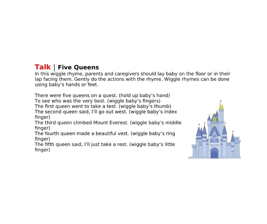 Talk | Five Queens In this wiggle rhyme, parents and caregivers should lay baby on the floor or in their lap facing them. Gently do the actions with the rhyme. Wiggle rhymes can be done using baby's hands or feet.  There were five queens on a quest. (hold up baby's hand) To see who was the very best. (wiggle baby's fingers) The first queen went to take a test. (wiggle baby's thumb) The second queen said, I'll go out west. (wiggle baby's index finger) The third queen climbed Mount Everest. (wiggle baby's middle finger) The fourth queen made a beautiful vest. (wiggle baby's ring finger) The fifth queen said, I'll just take a rest. (wiggle baby's little finger)