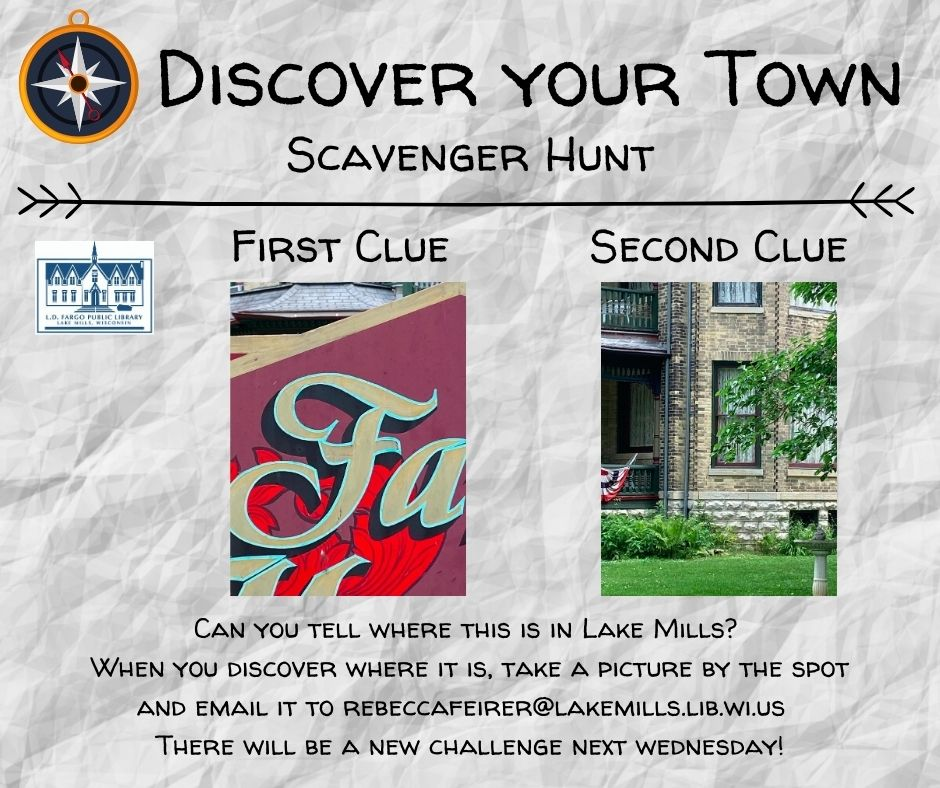 Can you tell where this is in Lake Mills?  When you discover where it is, take a picture by the spot and email it to rebeccafeirer@lakemills.lib.wi.us   There will be a new challenge next wednesday!