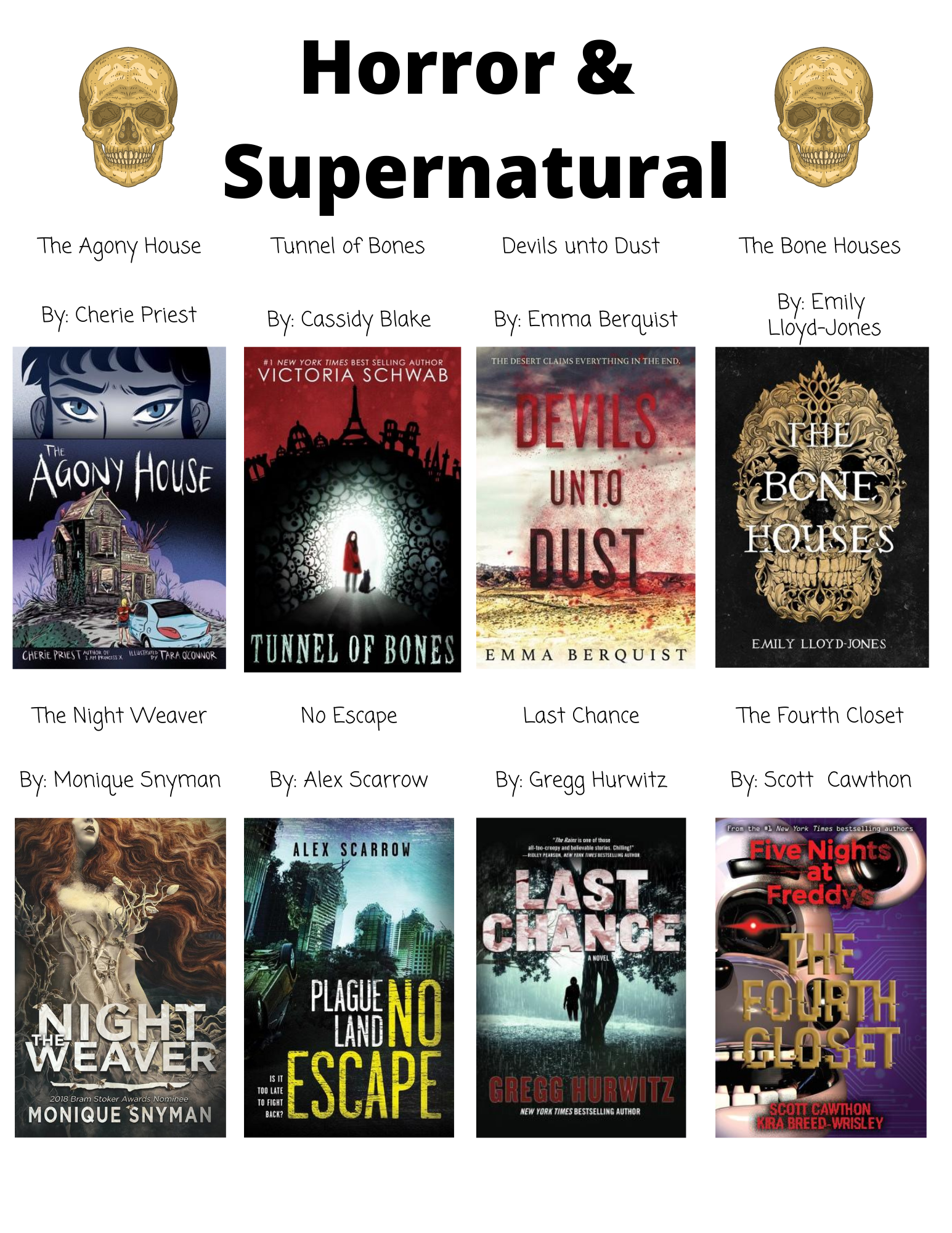 Horror &  Supernatural The Agony House By: Cherie Priest Tunnel of Bones By: Cassidy Blake  Devils unto Dust By: Emma Berquist The Bone Houses By: Emily  Lloyd-Jones The Night Weaver By: Monique Snyman No Escape By: Alex Scarrow Last Chance By: Gregg Hurwitz The Fourth Closet By: Scott  Cawthon Drop Dead Gorgeous  By: R.L. Stine  Cold as Marble By: Zoe Aarsen Wilder Girls By: Rory Power  Remember Me By: Chelsea Bobulski  Open Mic Night at Westminster Cemetery  By: Mary Amato  Out of Salem  By: Hal Schrieve  The Fade  By: Demitria Lunetta  The Haunted  By: Danielle Vega