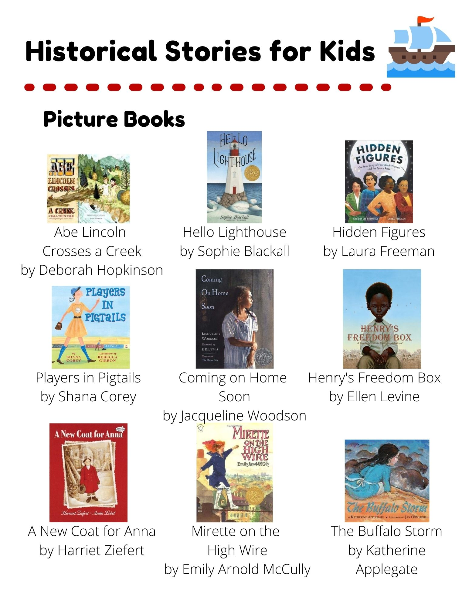 Historical Stories: Picture Books: Abe Lincoln  Crosses a Creek by Deborah Hopkinson. Hello Lighthouse by Sophie Blackall. Hidden Figures by Laura Freeman. Players in Pigtails by Shana Corey. Coming on Home  Soon by Jacqueline Woodson. Henry's Freedom Box by Ellen Levine. A New Coat for Anna by Harriet Ziefert. Mirette on the  High Wire by Emily Arnold McCully. The Buffalo Storm by Katherine Applegate. Chapter Books: Echo by Pam Munoz Ryan. Heart of a Samurai by Margi Preus. The Night Diary by Veera Hiranandani. Number the Stars by Lois Lowry. A Long Way From Chicago by Richard Peck. The War that Saved my Life by Kimberly Brubaker Bradley. One Crazy Summer by Rita Williams-Garcia. Wolf Hollow by Lauren Wolk. Esperanza Rising by Pam Munoz Ryan.