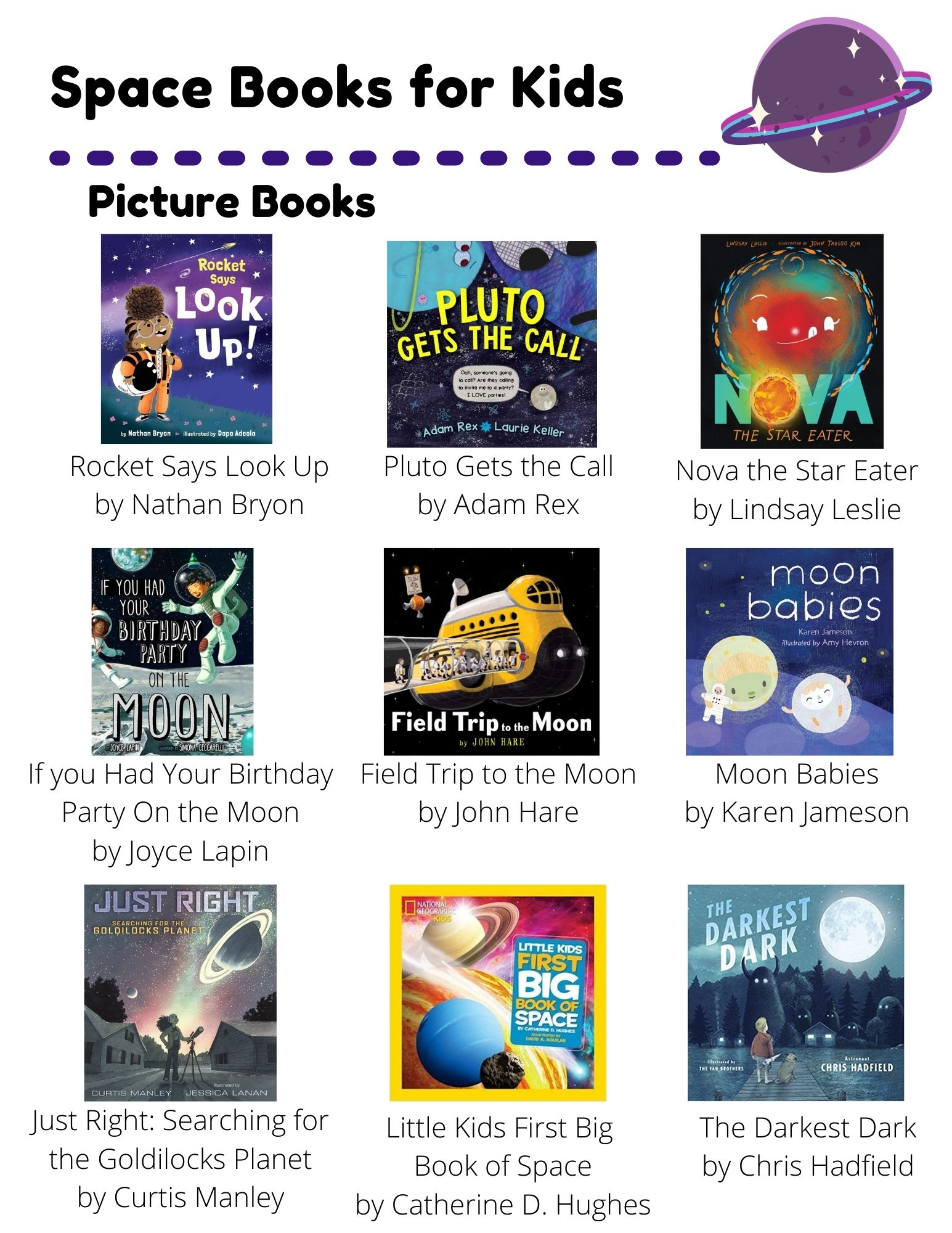 Space Books for Kids: Picture Books: Rocket Says Look Up by Nathan Bryon, Pluto Gets the Call by Adam Rex, Nova the Star Eater by Lindsay Leslie, If you Had Your Birthday Party On the Moon by Joyce Lapin, Field Trip to the Moon by John Hare, Moon Babies by Karen Jameson, Just Right: Searching for the Goldilocks Planet by Curtis Manley, Little Kids First Big  Book of Space by Catherine D. Hughes, The Darkest Dark by Chris Hadfield. Chapter Books: Code your own Adventure by Max Wainewright, Sadiq and the  Desert Star by Siman Nuurali, Midnight on the Moon by Mary Pope Osborne, Mouse in Space by Geronimo Stilton, Planet Earth is Blue by Nicole Panteleakos, Cosmoe's Weiner Getaway by Max Brallier. Non-Fiction Books: Mario and the Hole in the Sky by Elizabeth Rusch, The Race to Space by Ben Thompson, Surviving in Space by Ellen Lawrence.