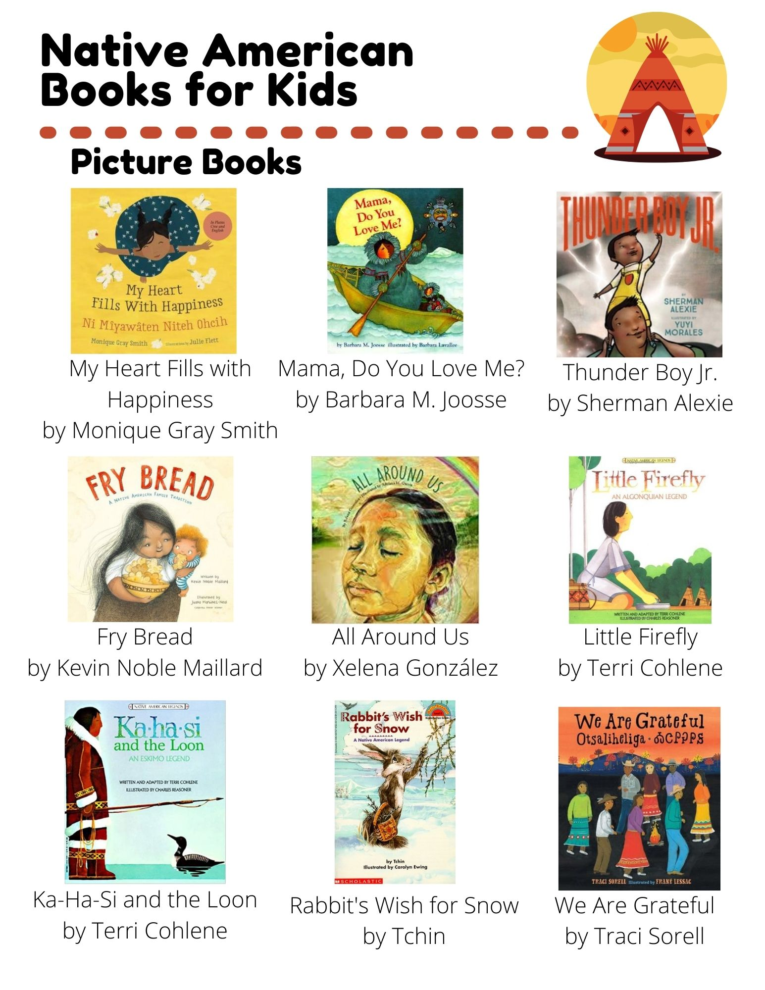 Native Americans: Picture Books: My Heart Fills with Happiness by Monique Gray Smith, Mama, Do You Love Me? by Barbara M. Joosse, Thunder Boy Jr. by Sherman Alexie, Fry Bread by Kevin Noble Maillard, All Around Us by Xelena González, Little Firefly by Terri Cohlene, Ka-Ha-Si and the Loon by Terri Cohlene, Rabbit's Wish for Snow by Tchin, We Are Grateful by Traci Sorell.  Chapter Books: Native American Heroes by Ann McGovern, The Birchbark House by Louise Erdrich, I Can Make This Promise by Christine Day, Meet Kaya by Janet Beeler Shaw, Enemy in the Fort by Sarah Masters Buckey. Non-Fiction: Red Cloud by S.D. Nelson, Before Columbus by Charles C. Mann, Welcome to Kaya's World 1764 by Dottie Raymer.