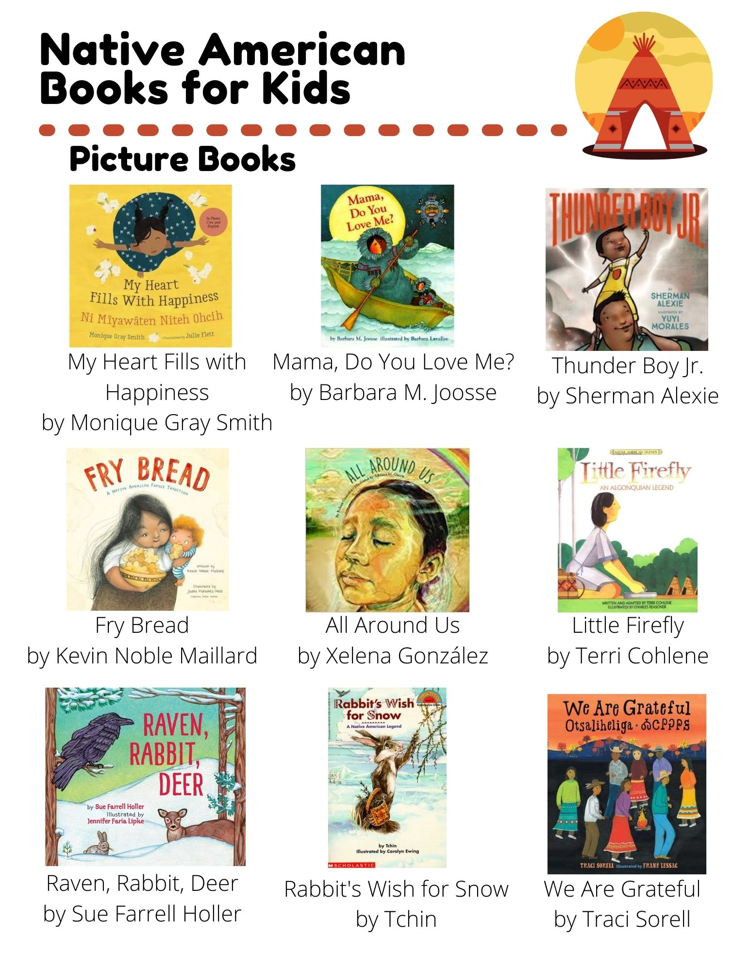 Native Americans: Picture Books: My Heart Fills with Happiness by Monique Gray Smith, Mama, Do You Love Me? by Barbara M. Joosse, Thunder Boy Jr. by Sherman Alexie, Fry Bread by Kevin Noble Maillard, All Around Us by Xelena González, Little Firefly by Terri Cohlene, Raven, Rabbit, Deer by Sue Farrell Holler, Rabbit's Wish for Snow by Tchin, We Are Grateful by Traci Sorell.  Chapter Books: Native American Heroes by Ann McGovern, The Birchbark House by Louise Erdrich, I Can Make This Promise by Christine Day, Meet Kaya by Janet Beeler Shaw, Enemy in the Fort by Sarah Masters Buckey. Non-Fiction: Red Cloud by S.D. Nelson, Before Columbus by Charles C. Mann, Welcome to Kaya's World 1764 by Dottie Raymer.