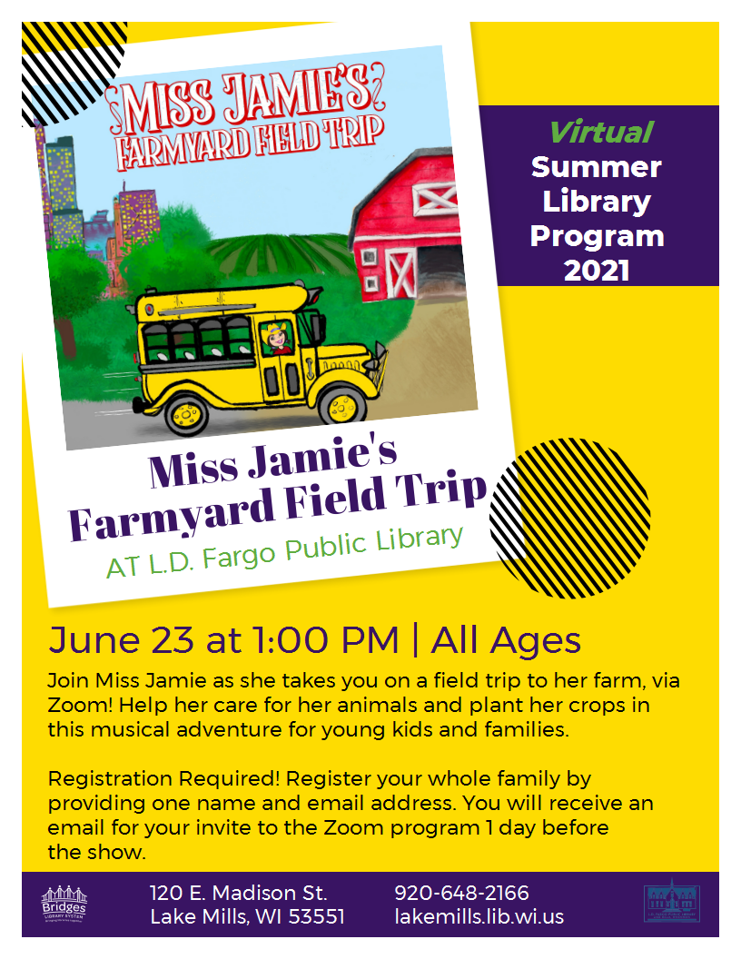 Join Miss Jamie as she takes you on a Fieldtrip to her Farm via Zoom!  Registration Required!  You will receive an email to your Zoom invitation 1 day before the show.