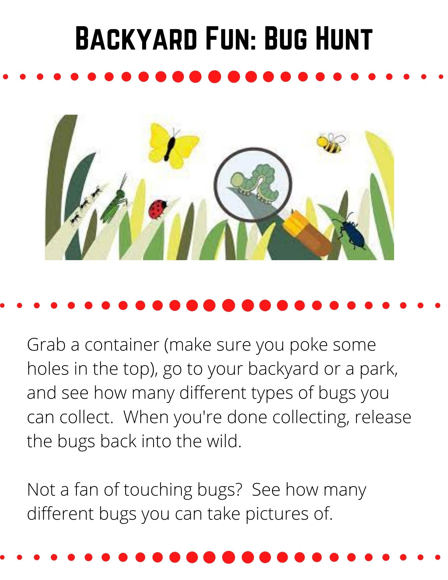 Backyard Fun: Bug Hunt. Grab a container (make sure you poke some holes in the top), go to your backyard or a park, and see how many different types of bugs you can collect.  When you're done collecting, release the bugs back into the wild.  Not a fan of touching bugs?  See how many different bugs you can take pictures of.