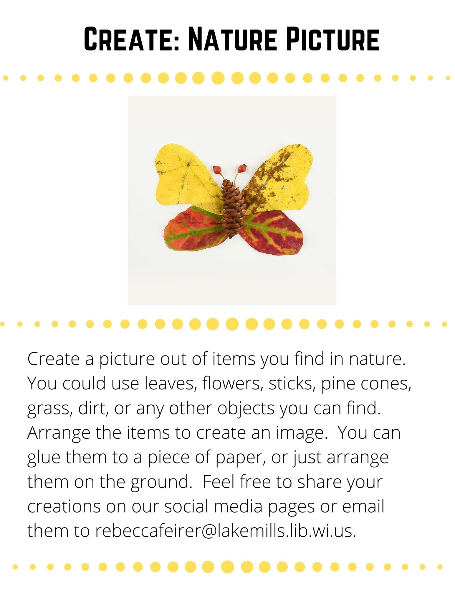 Create: Nature Picture: Create a picture out of items you find in nature.  You could use leaves, flowers, sticks, pine cones, grass, dirt, or any other objects you can find. Arrange the items to create an image.  You can glue them to a piece of paper, or just arrange them on the ground.  Feel free to share your creations on our social media pages or email them to rebeccafeirer@lakemills.lib.wi.us.