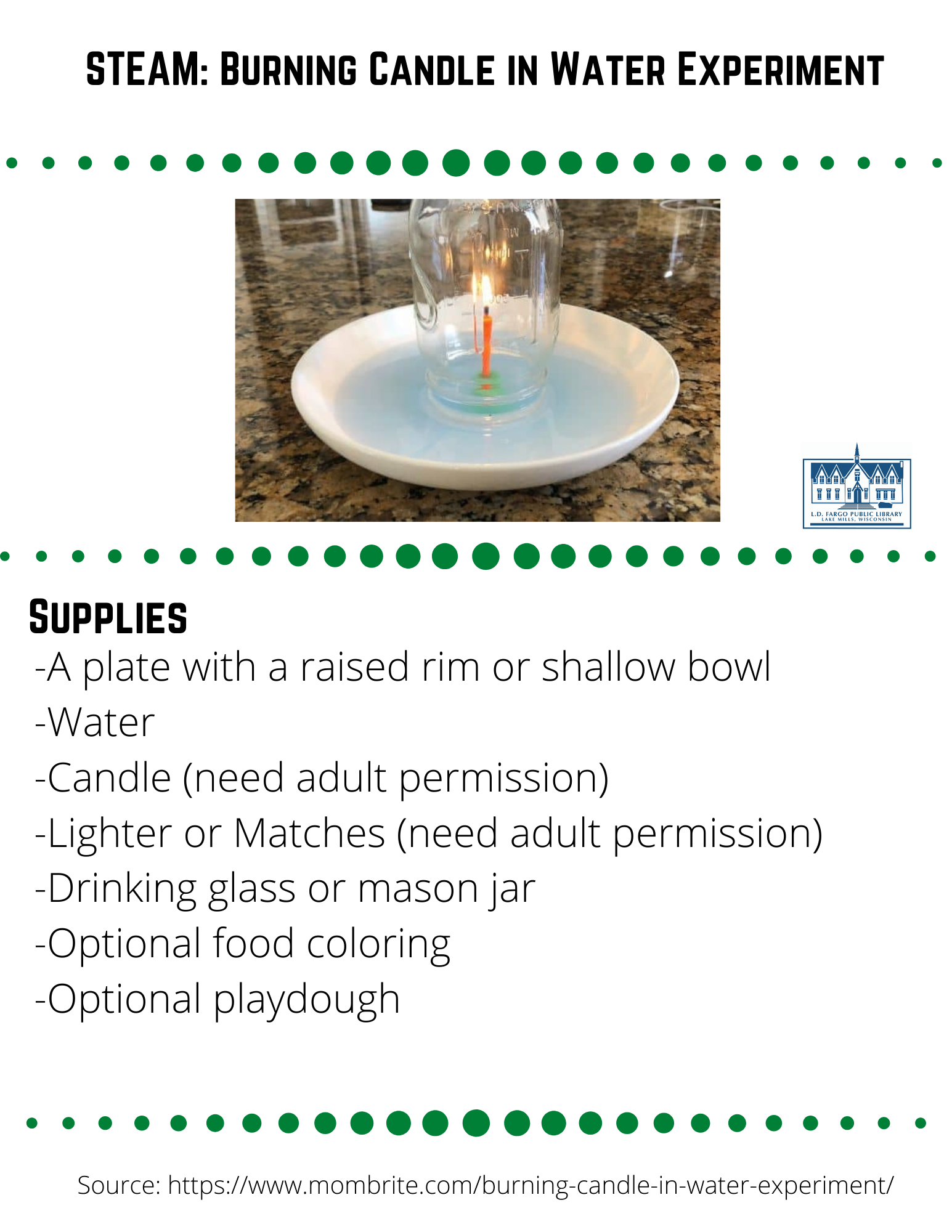 STEAM: Burning Candle in Water Experiment  Supplies  -A plate with a raised rim or shallow bowl -Water -Candle (need adult permission) -Lighter or Matches (need adult permission) -Drinking glass or mason jar -Optional food coloring -Optional playdough  Step 1  Place the candle in the middle of the plate or bowl.  Optional: If your candle can't stand by itself, use some play dough to help it stand upright.  Step 2  Optional: Mix water with food coloring in a separate container.  The food coloring helps you see the water better.  Pour the colored water into the plate to about 1 cm in depth.  Step 3  Light the candle with a lighter or match.  What do you think will happen when you place the glass over the candle?  Step 4  Turn the glass or mason jar upside down and place it over the candle. Watch what happens to the water.  The Science behind the rising water experiment  The candle went out without us blowing on it because it ran out of oxygen.  The flame used up oxygen as it burned, and since the candle was trapped inside a glass, it quickly used up the available oxygen.  Without oxygen inside the glass, the candle could not keeping burning.  When the candle was still burning, the flame heated up the air inside the glass.  The hot air expanded quickly and created higher air pressure inside the glass than outside the glass.  To restore equilibrium, some of the high-pressure air inside escaped from under the glass.  You may have seen tiny bubbles escaping from underneath the glass.  When the flame extinguished, the air inside the glass cooled down.  Cooling air contracted, which in turn lowered the air pressure inside the glass. Just as before when air rushed out from the glass to balance the air pressure between the inside and outside of the glass, now air wants to get in.  As a result, the high-pressure air outside the glass pushes on the water, forcing the water into the glass.  Visually, we can see the water level rising until the air pressure inside the glass is th
