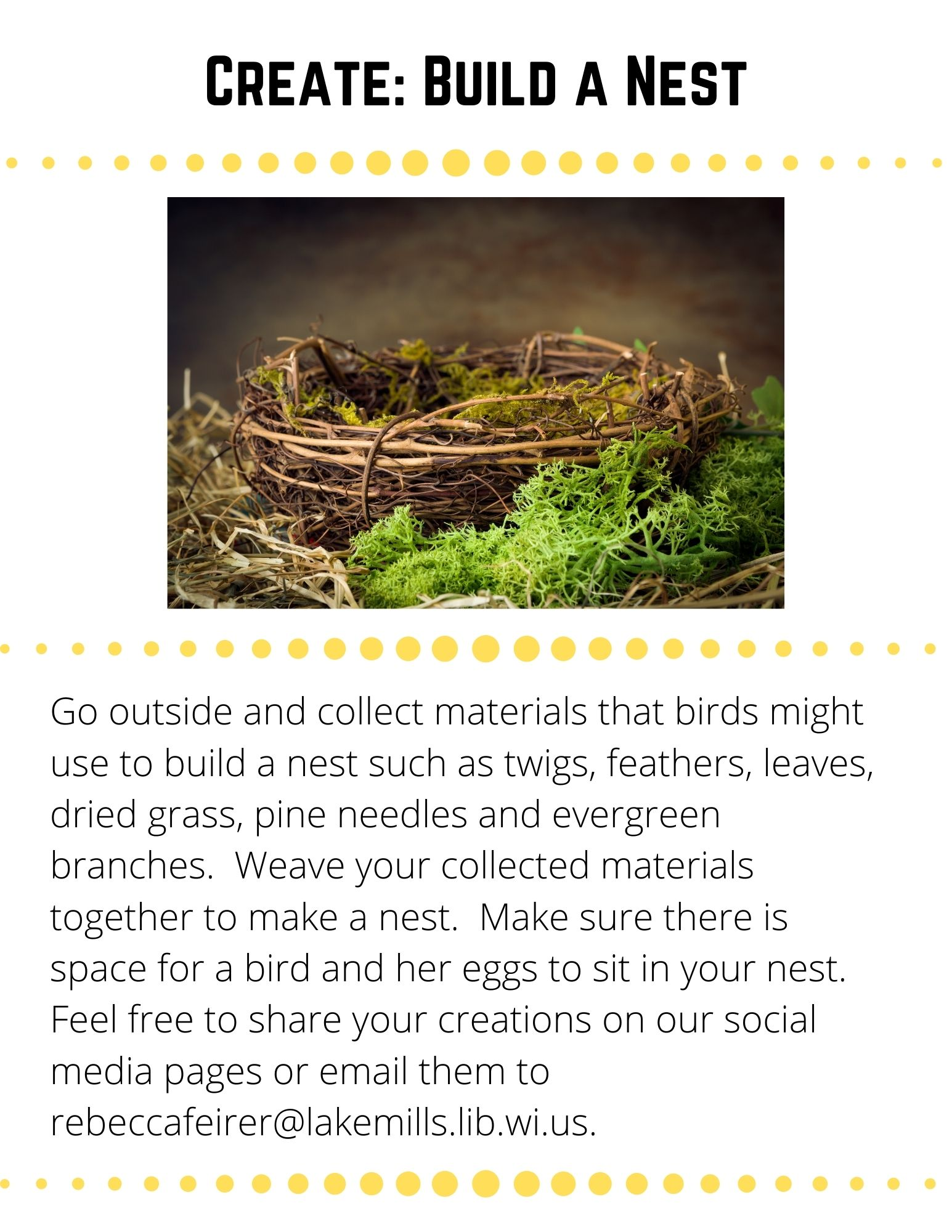 Create: Build a Nest. Go outside and collect materials that birds might use to build a nest such as twigs, feathers, leaves, dried grass, pine needles and evergreen branches.  Weave your collected materials together to make a nest.  Make sure there is space for a bird and her eggs to sit in your nest.  Feel free to share your creations on our social media pages or email them to rebeccafeirer@lakemills.lib.wi.us.