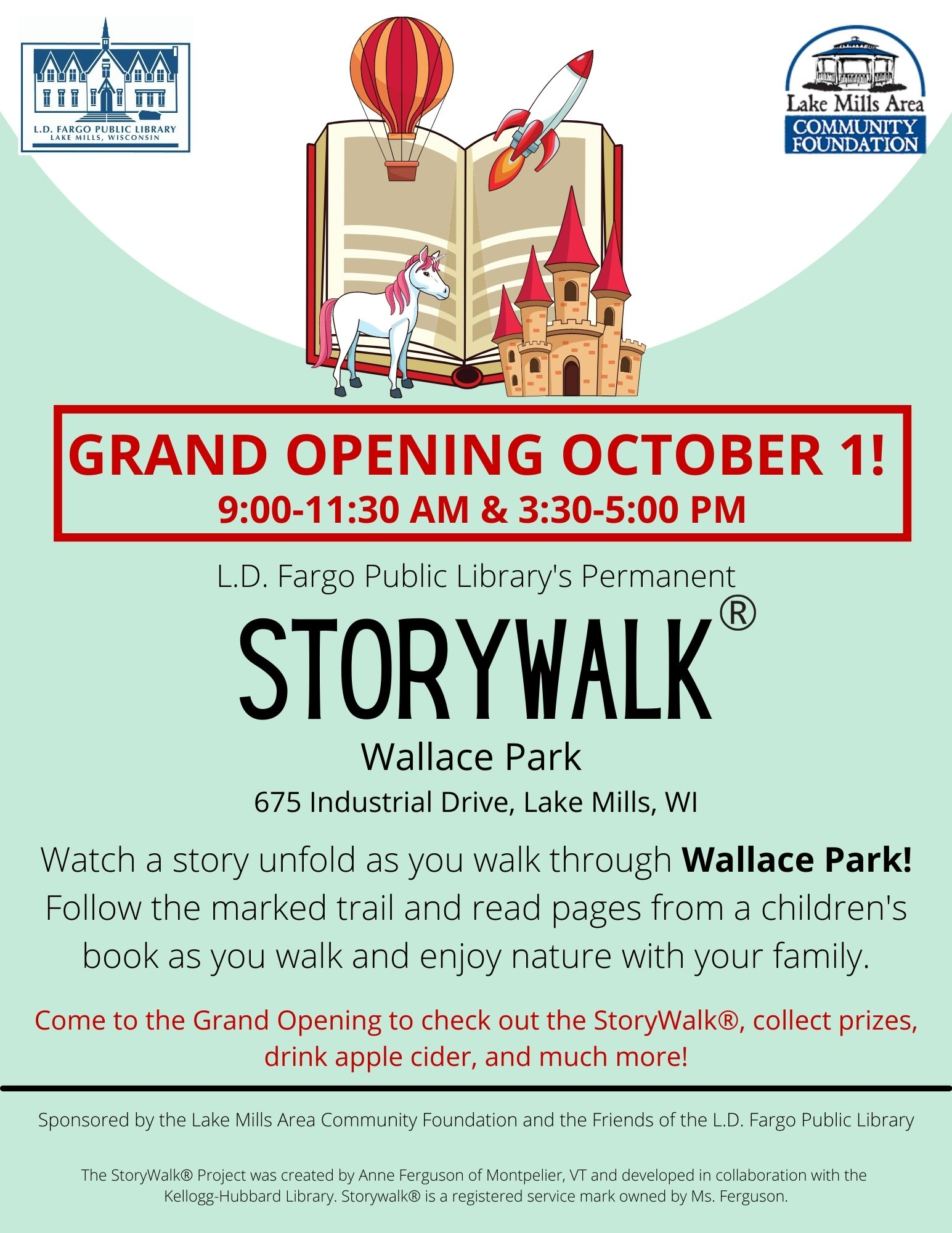 Grand Opening October 1! L.D. Fargo Public Library's Permanent StoryWalk® in Wallace Park!  Follow the marked trail and read pages from a children's book as you walk and enjoy nature with your family.  Watch the library's website and social media pages for updates.